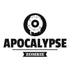 Zombie terror logo, simple black style