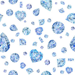 seamless pattern with diamond. jewelry watercolor background. crystals illustration.