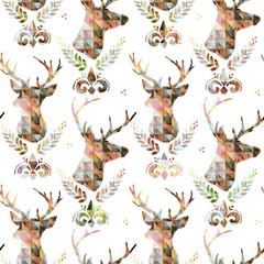 Watercolor deer illustration. Vintage seamless pattern. Animals pattern.
