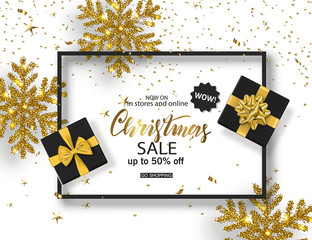 Christmas Sale poster with shiny snowflake, gift boxes and serpentine . Vector illustration. Design for invitation, banners, ads, coupons, promotional material
