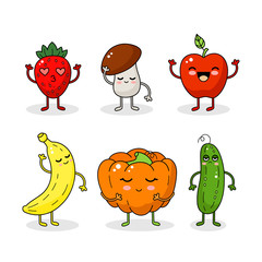 Cartoon funny vegetable and fruit characters. Happy vegetable sticker big collection.