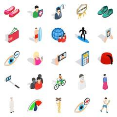 Body training icons set, isometric style