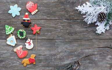 Christmas gingerbread on a rustic table