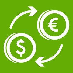Euro dollar euro exchange icon green