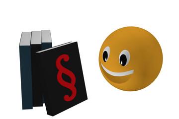 Emoticon schaut zu einem Buch mit Paragraphenzeichen das an anderen Büchern angelehnt ist.