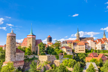 Stadtpanorama von Bautzen in der Oberlausitz, Sachsen Fototapete