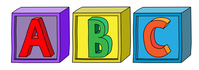 Colorful alphabet A B C letters on cube blocks in horizontal position