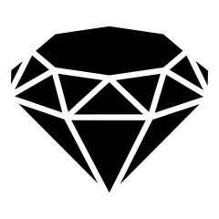 Diamond icon, simple black style
