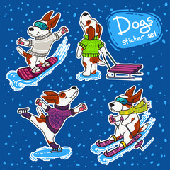 Winter sport stikers set with dogs in colorful sweaters