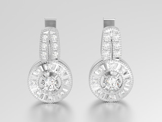 3D illustration isolated white gold or silver decorative diamond earrings with hinged lock