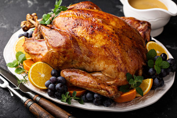 Festive celebration roasted turkey for Thanksgiving Wall mural
