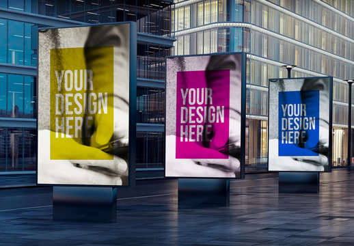 3 Outdoor Kiosk Advertising Mockups on City Street at Night
