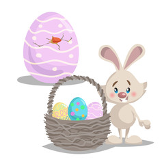 Cartoon cute smiling easter bunny with big basket and painted colorful eggs. Hatched easter egg. Spring character mascot and seasonal vector illustration.