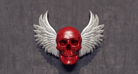 Red skull with white angel wings 3D Rendering