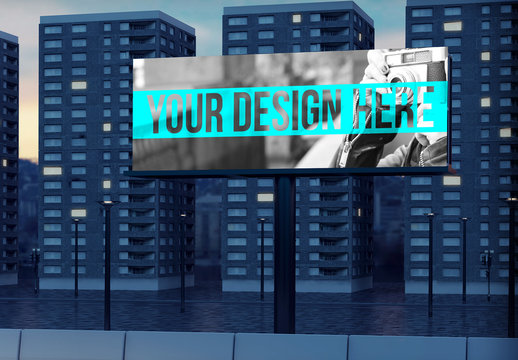 Billboard Mockup with Apartment Complex in Background 1