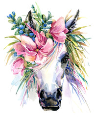 Unicorn watercolor illustration.