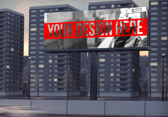 Billboard Mockup with Apartment Complex in Background 2