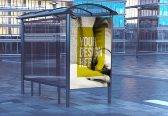Bus Stop Advertising Kiosk Mockup on City Street 1