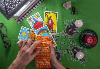 Divination by tarot cards.