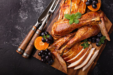 Carved turkey on a cutting board