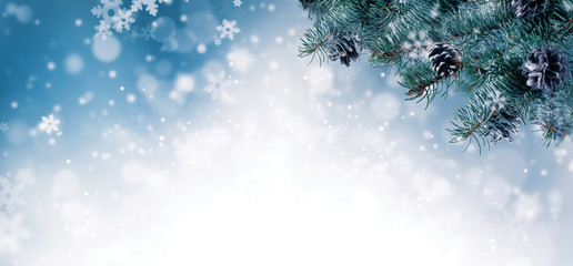 Christmas background with spruce branches and cones with snow flakes and copyspace for text.