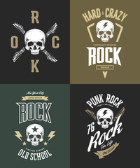 Vintage hard and punk rock vector t-shirt logo isolated on dark background. Premium quality skull logotype tee-shirt emblem illustration.