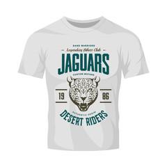 Vintage furious jaguar custom motors club vector logo on white t-shirt mock up. Premium quality bikers band logotype tee-shirt emblem illustration. Wild animal street wear retro tee print design.