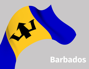 Background with Barbados wavy flag