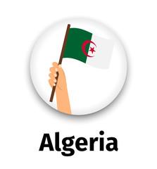 Algeria flag in hand, round icon