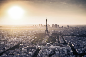 Panoramic city view with Eiffel Tower. Paris, France