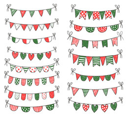 Cute vector doodle buntings in red and green colors for Christmas designs, invitations and greeting cards
