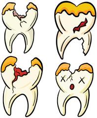 Rotten Broken Wisdom Teeth Cartoon Illustration Vector