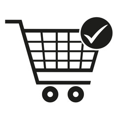 supermarket trolley, icon approve, vector illustration
