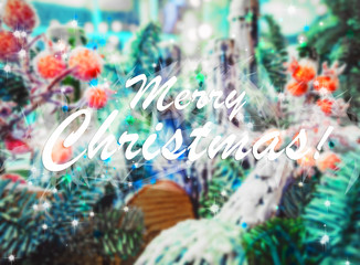Christmas background with festive decoration and text Merry Christmas blurred background. Xmas card with greeting