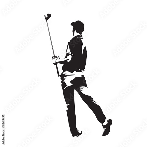 golf player watching ball after golf swing with his driver abstract isolated vector silhouette