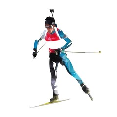 Biathlon race, skiing man in colorful jersey. Isolated vector illustration