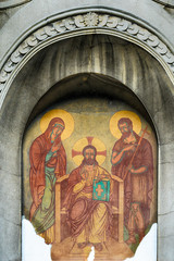 The entrance to the church in Pancevo
