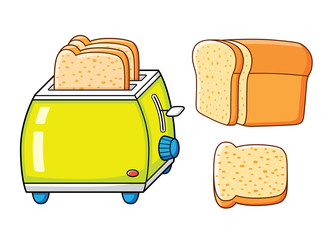 Toaster with slices and half a loaf of bread isolated.
