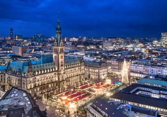 Christmas city panorama of Hamburg