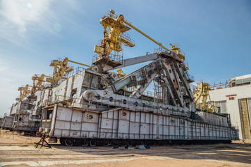 """Abandoned transport and installation unit """"Grasshopper"""" for spaceship Buran and Energy launch vehicle at cosmodrome Baikonur"""