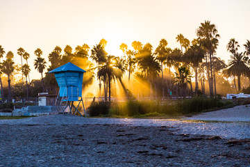 Silhouettes of palm trees and lifeguard tower at sunset, Santa Barbara beach, Southern California, USA