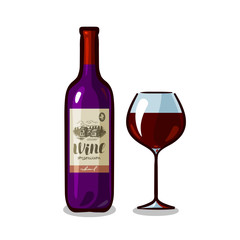 Bottle of wine and glass. Winery, alcoholic drink, beverage concept. Vector illustration
