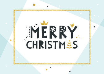 Merry Christmas background. Contemporary pale blue geometric background.