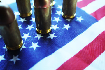 45 Auto Bullets Lined Up On American Flag High Quality
