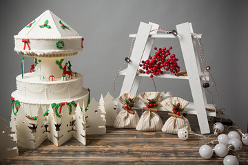 Christmas decoration on wooden table