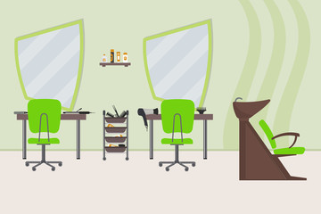 Interior of a hairdressing salon in a green color. Beauty salon. There are tables, chairs, a bath for washing the hair, mirrors, hair dryer, combs and other objects in the picture. Vector illustration