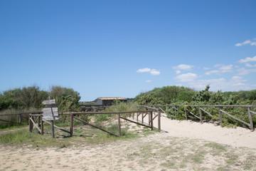 Hiking trail, observation hut in the Nature Reserve Oasi Faunistica di Vendicari, at lake Pantano Roveto