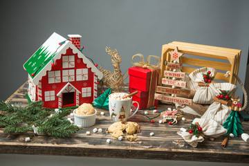 Christmas decorated wooden table