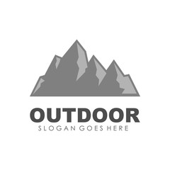 Mountain, outdoor and adventure logo design template