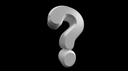 3D rendering of white Question Mark isolated on Black Background. Exclamation and question mark